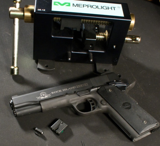 Meprolight night sights ready for installation on a 1911.